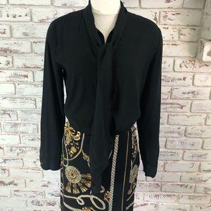 Cache Faux Wrap Skirt Size 6 Tassel Pattern